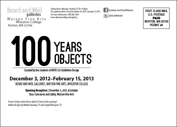 100 Years 100 Objects (mailer-back)
