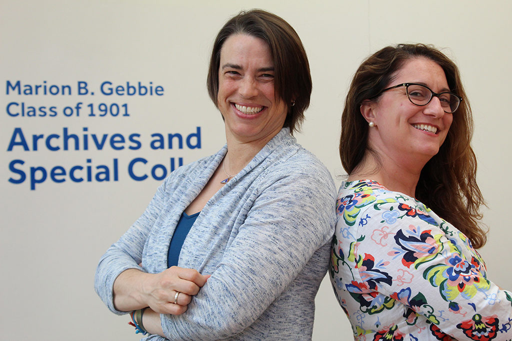 Kate Boylan '04, Director of Archives & Digital Initiatives, and Megan Brooks, Dean of Library Services